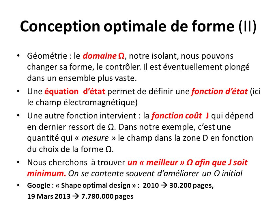 Conception optimale de forme (II)