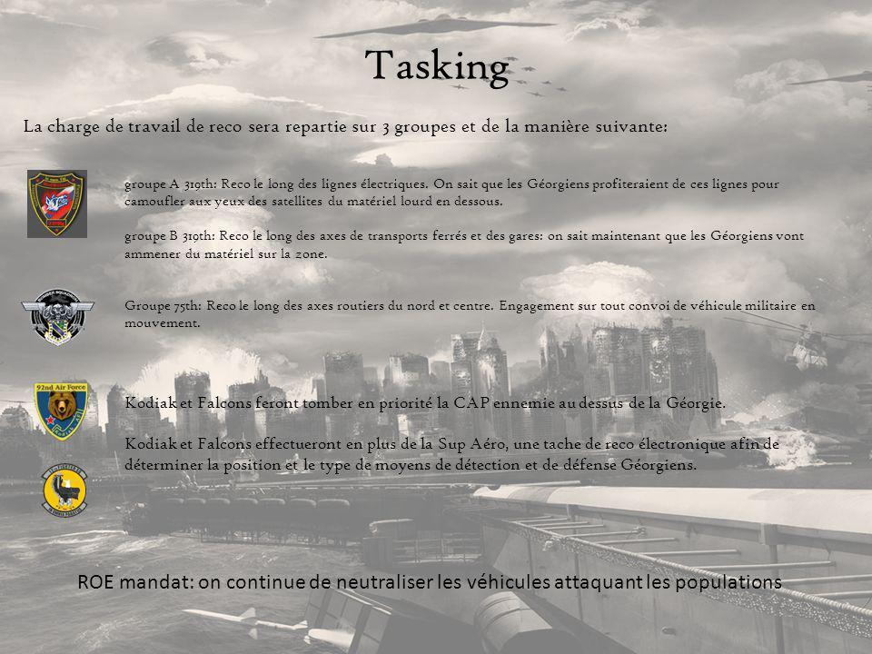 Tasking La charge de travail de reco sera repartie sur 3 groupes et de la manière suivante: