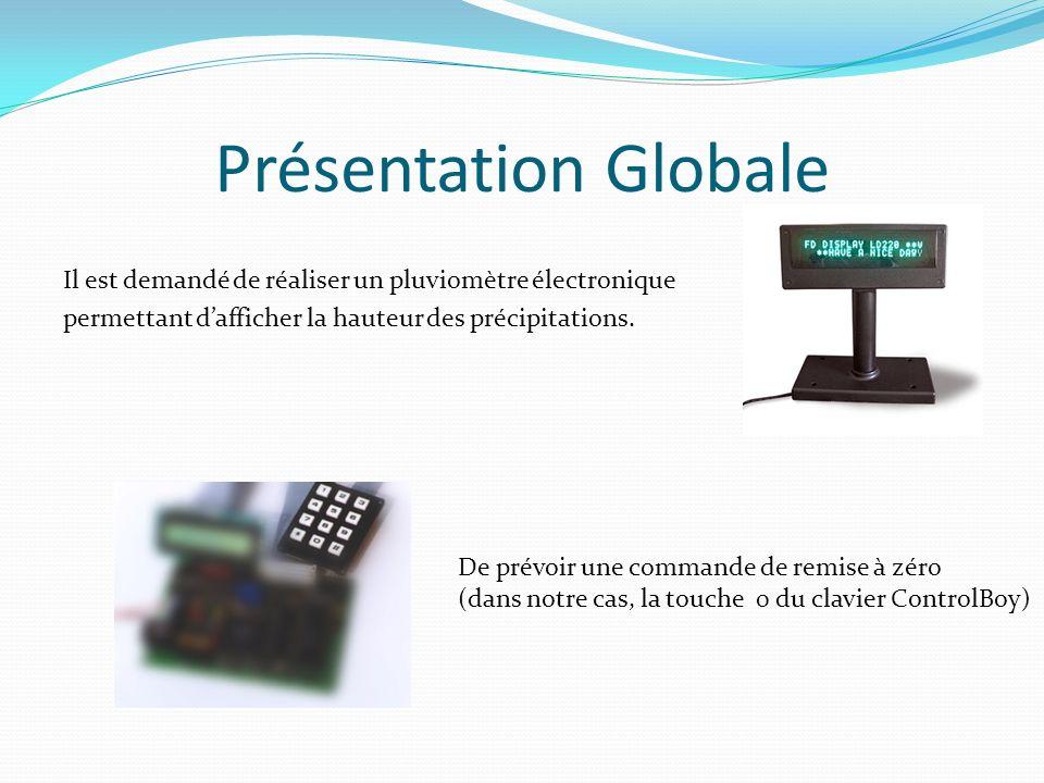 Présentation Globale Il est demandé de réaliser un pluviomètre électronique permettant d'afficher la hauteur des précipitations.
