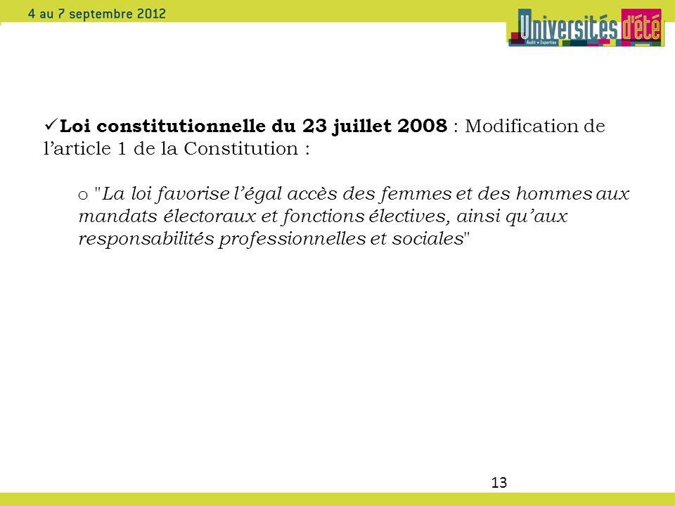 Loi constitutionnelle du 23 juillet 2008 : Modification de l'article 1 de la Constitution :