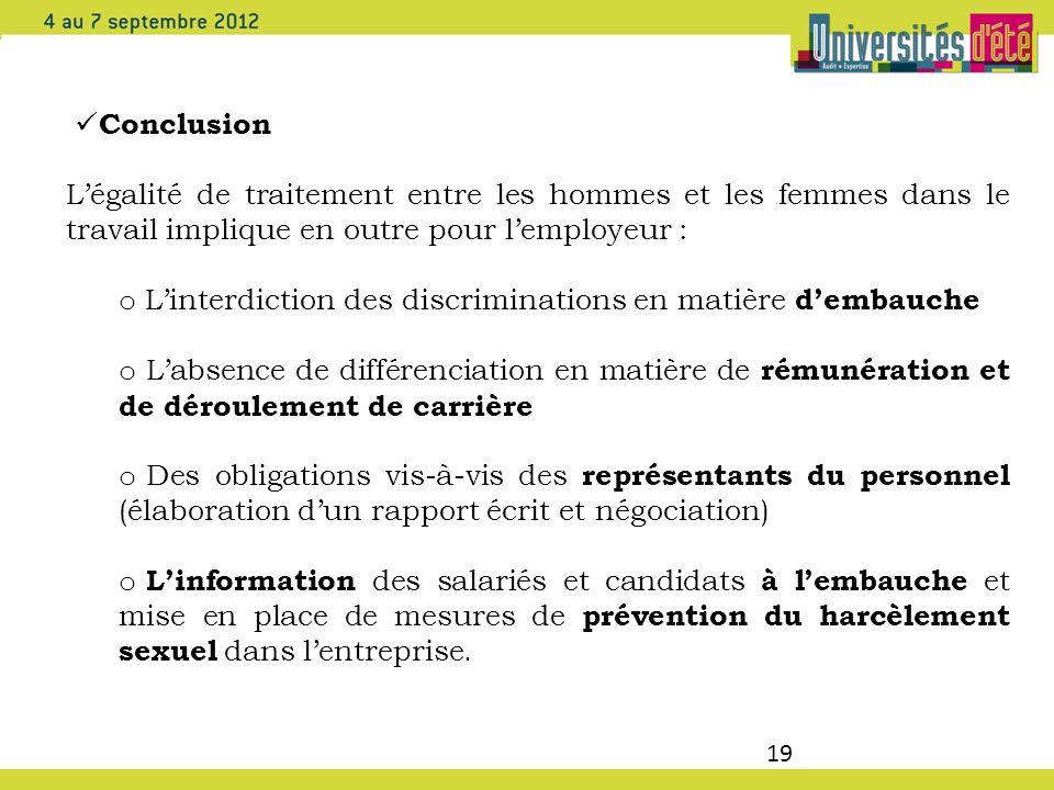 Conclusion L'égalité de traitement entre les hommes et les femmes dans le travail implique en outre pour l'employeur :