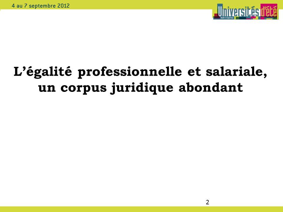 L'égalité professionnelle et salariale, un corpus juridique abondant