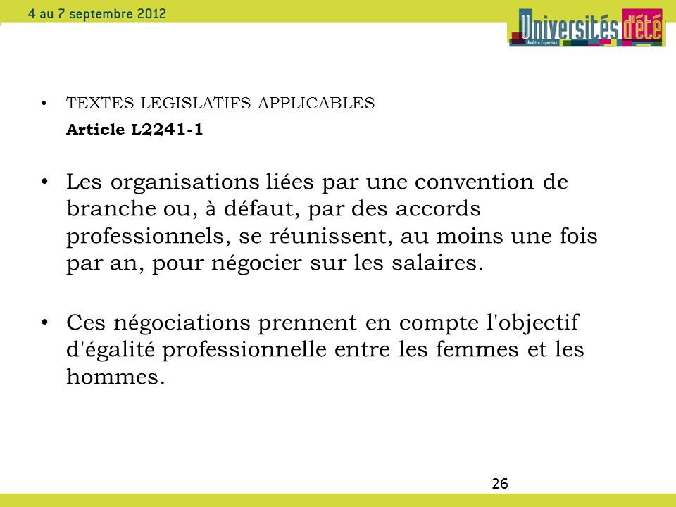 TEXTES LEGISLATIFS APPLICABLES