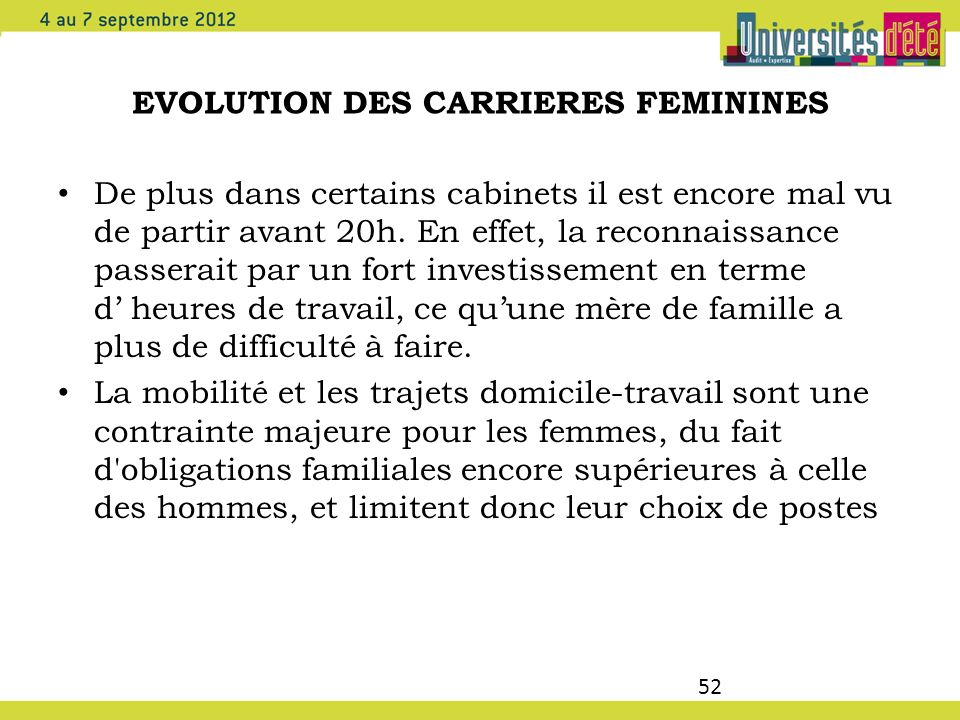 EVOLUTION DES CARRIERES FEMININES