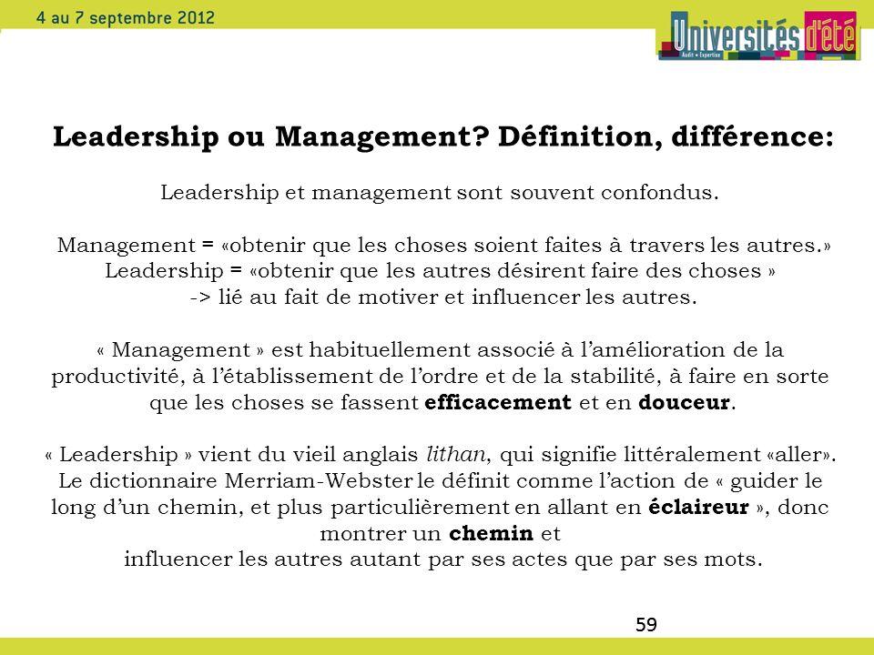 Leadership ou Management Définition, différence: