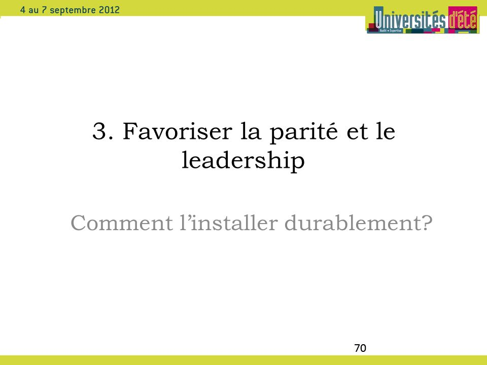 3. Favoriser la parité et le leadership