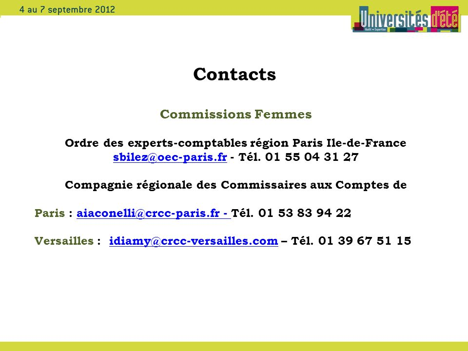Contacts Commissions Femmes