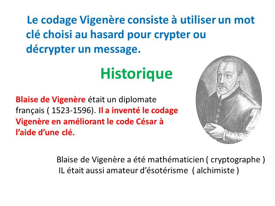 Le codage Vigenère consiste à utiliser un mot clé choisi au hasard pour crypter ou décrypter un message.