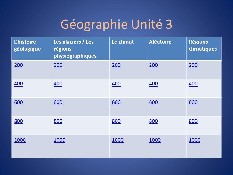 Géographie Unité 3 L'histoire géologique Les glaciers / Les