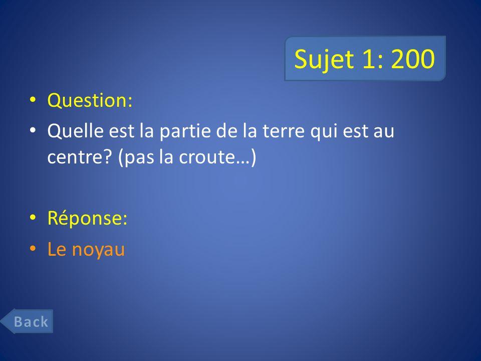Sujet 1: 200 Question: Quelle est la partie de la terre qui est au centre (pas la croute…) Réponse: