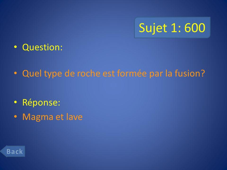 Sujet 1: 600 Question: Quel type de roche est formée par la fusion