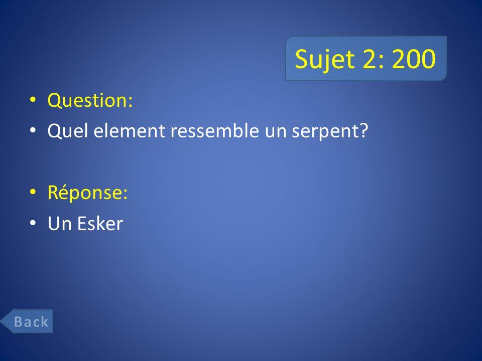 Sujet 2: 200 Question: Quel element ressemble un serpent Réponse: