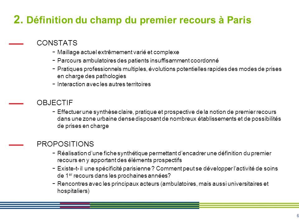 2. Définition du champ du premier recours à Paris