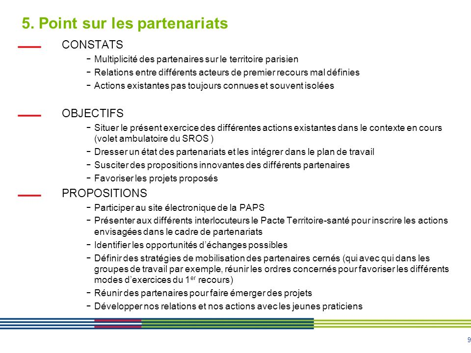 5. Point sur les partenariats
