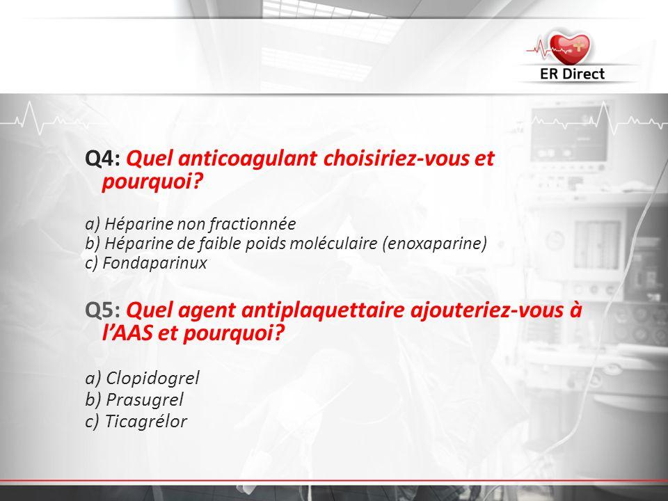 Q4: Quel anticoagulant choisiriez-vous et pourquoi