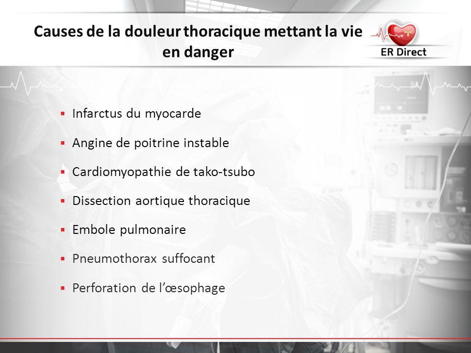 Causes de la douleur thoracique mettant la vie en danger