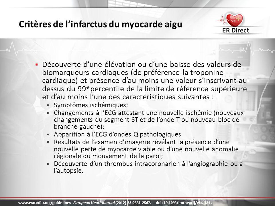 Critères de l'infarctus du myocarde aigu
