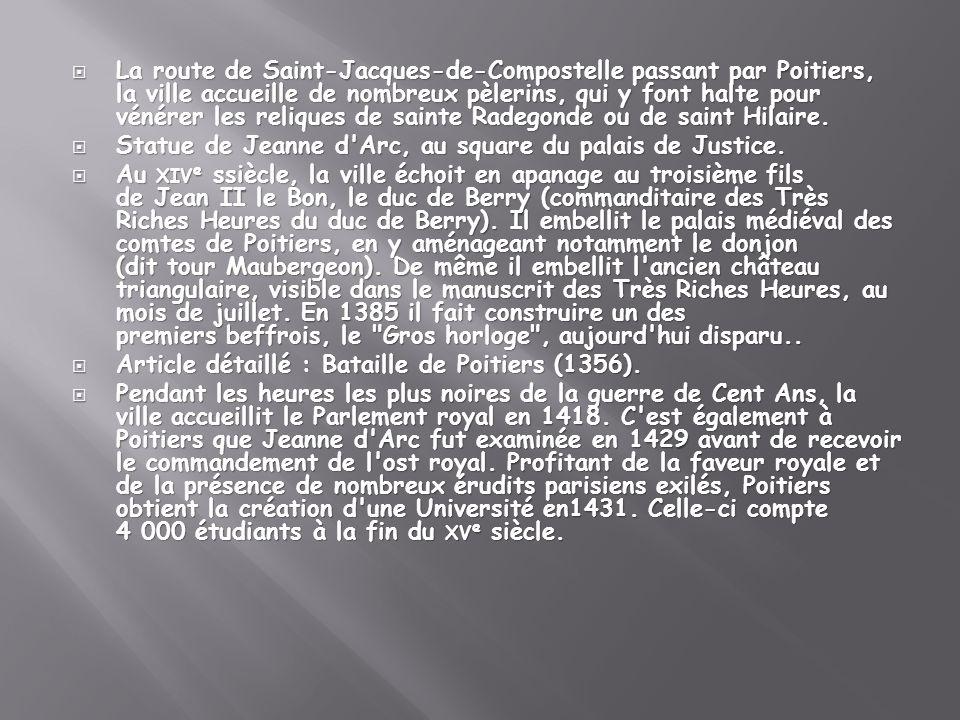 La route de Saint-Jacques-de-Compostelle passant par Poitiers, la ville accueille de nombreux pèlerins, qui y font halte pour vénérer les reliques de sainte Radegonde ou de saint Hilaire.