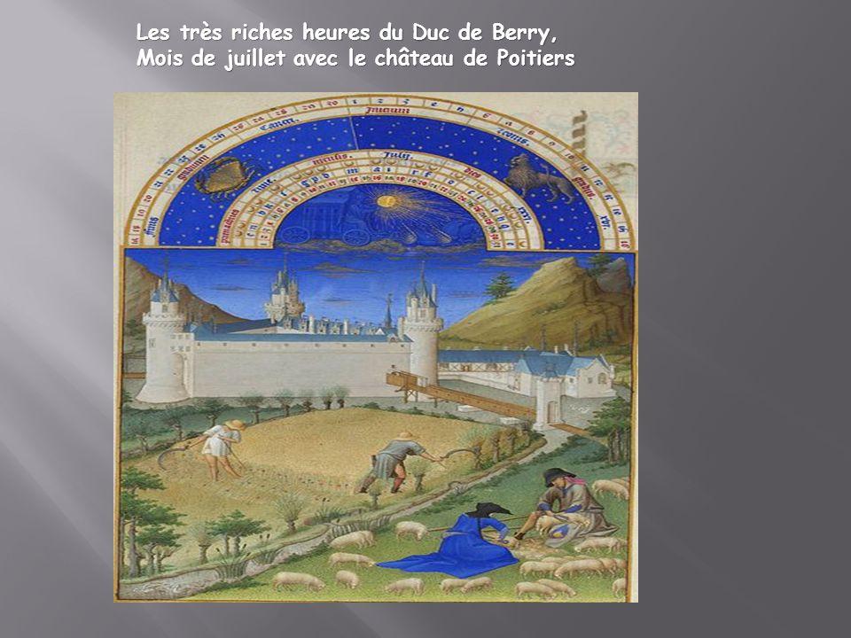 Les très riches heures du Duc de Berry, Mois de juillet avec le château de Poitiers