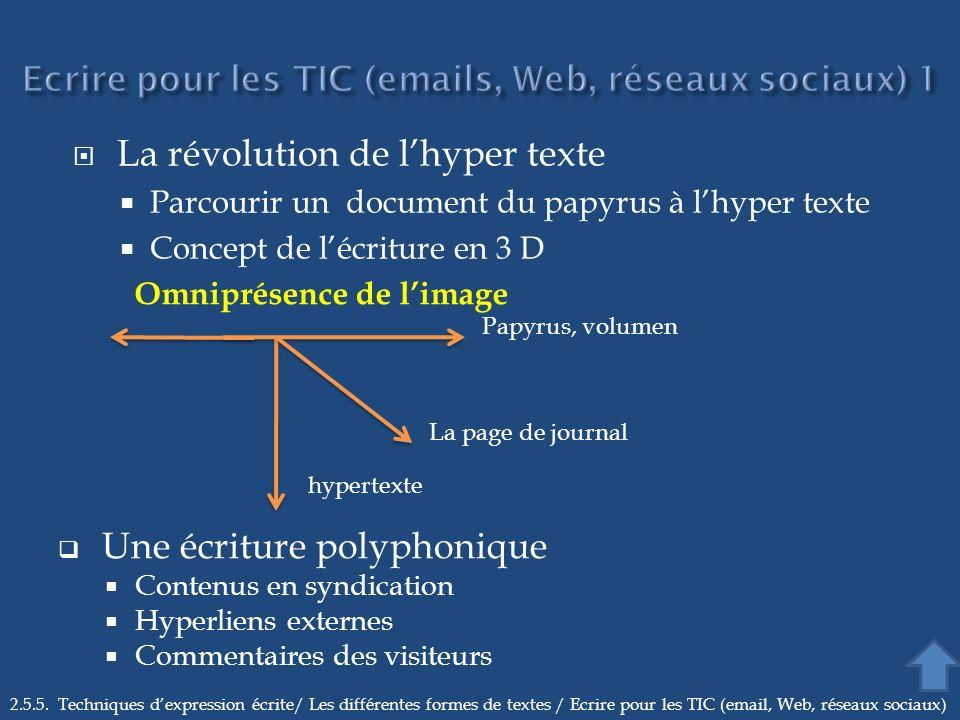 Ecrire pour les TIC (emails, Web, réseaux sociaux) 1