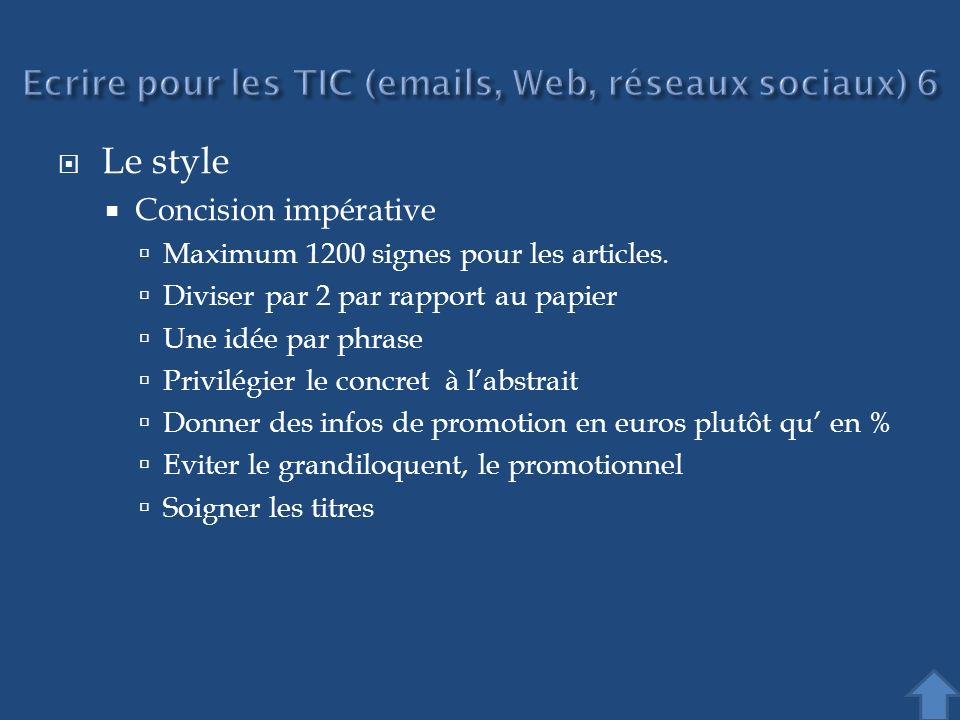 Ecrire pour les TIC (emails, Web, réseaux sociaux) 6