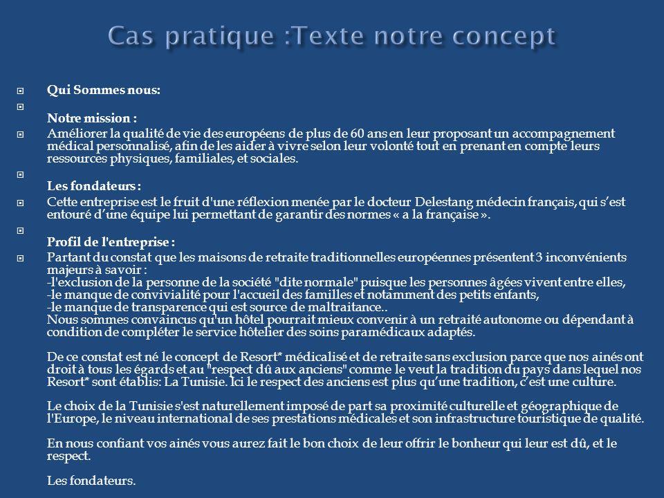 Cas pratique :Texte notre concept