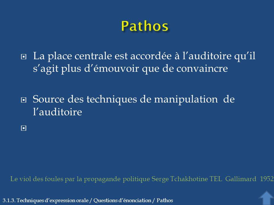 Pathos La place centrale est accordée à l'auditoire qu'il s'agit plus d'émouvoir que de convaincre.