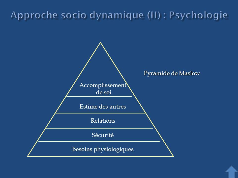 Approche socio dynamique (II) : Psychologie