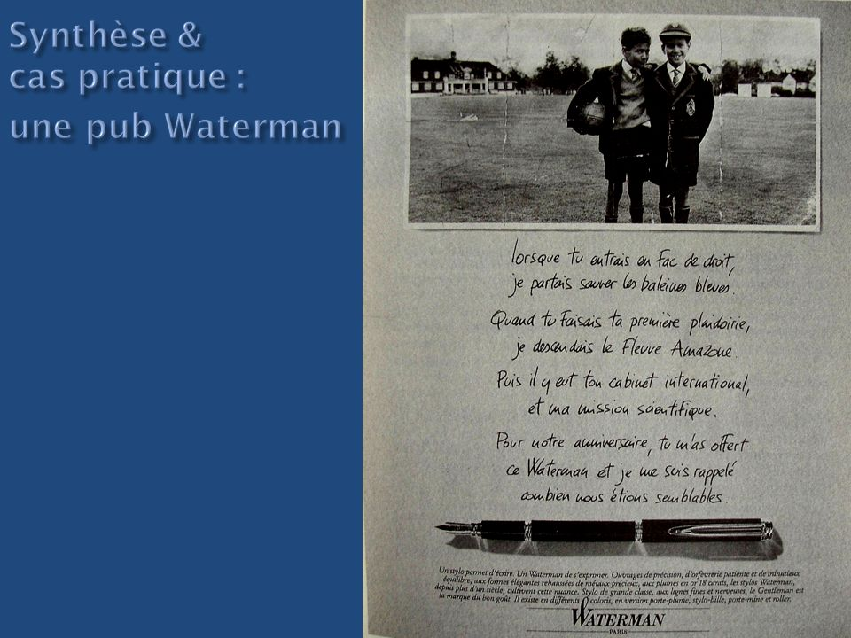 Synthèse & cas pratique : une pub Waterman