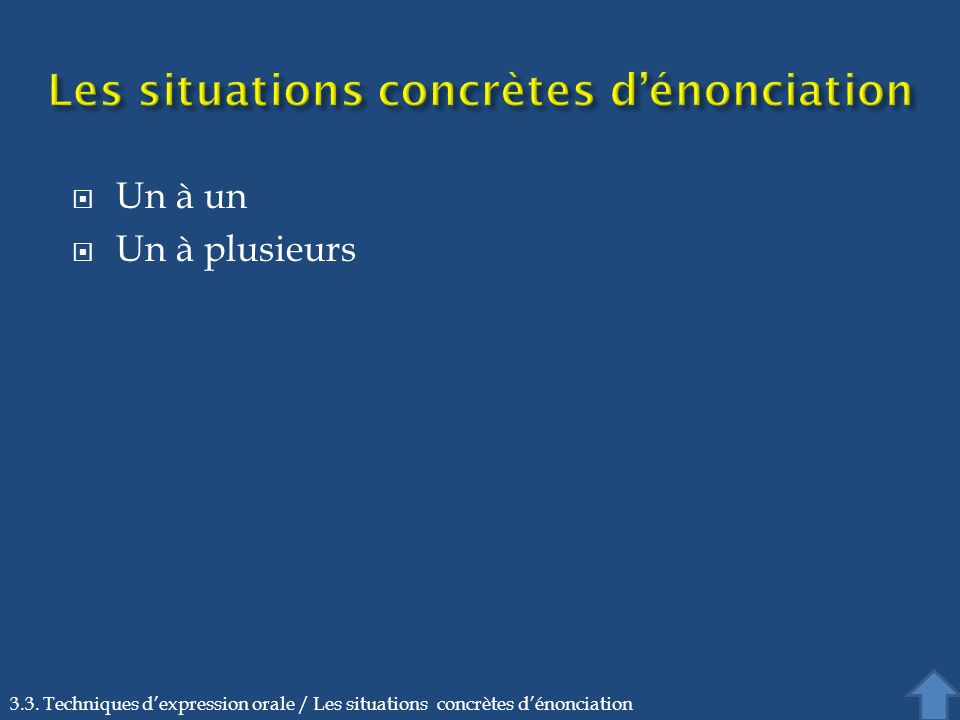 Les situations concrètes d'énonciation