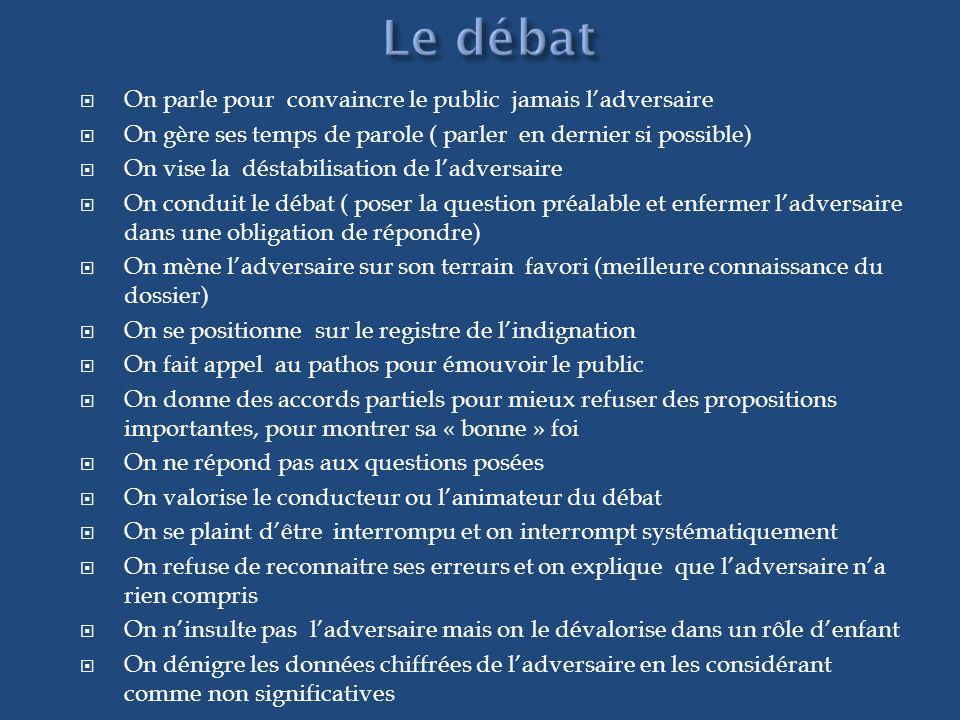 Le débat On parle pour convaincre le public jamais l'adversaire