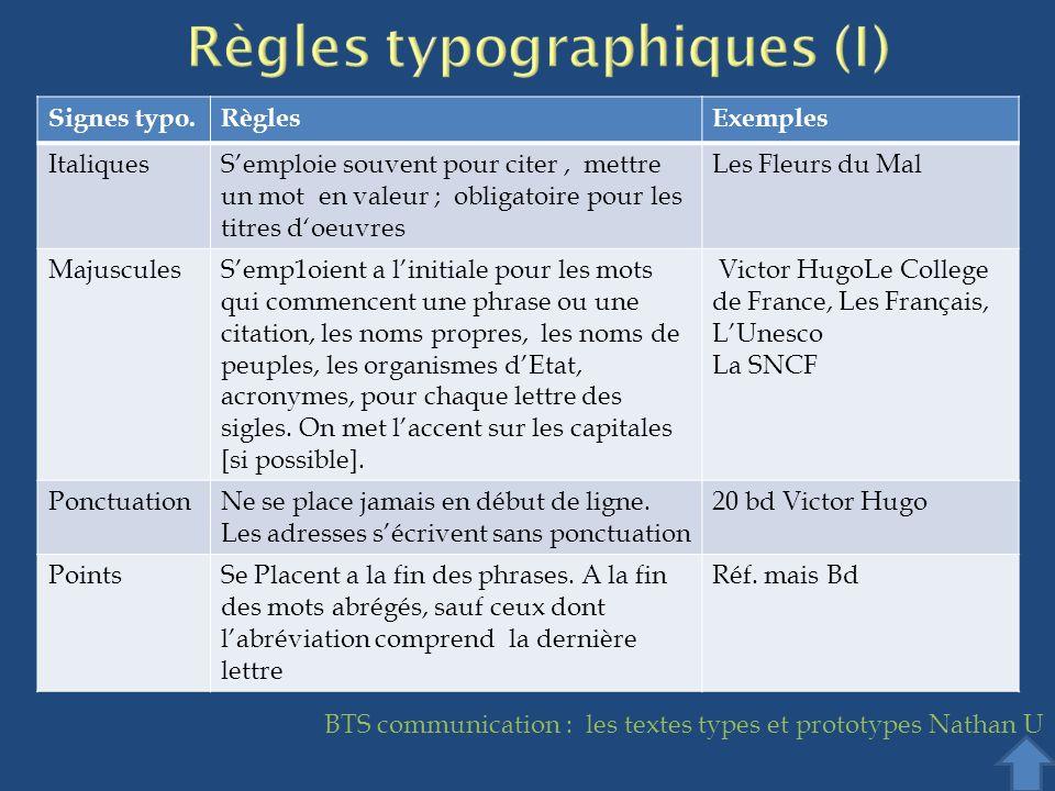 Règles typographiques (I)