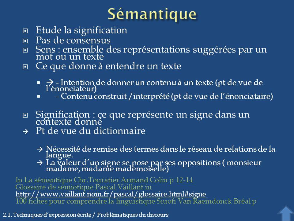 Sémantique Etude la signification Pas de consensus