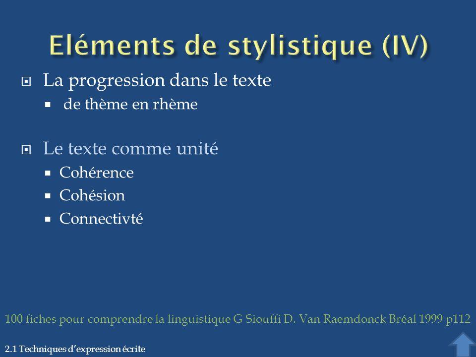 Eléments de stylistique (IV)