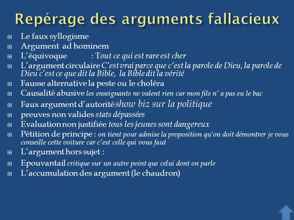 Repérage des arguments fallacieux