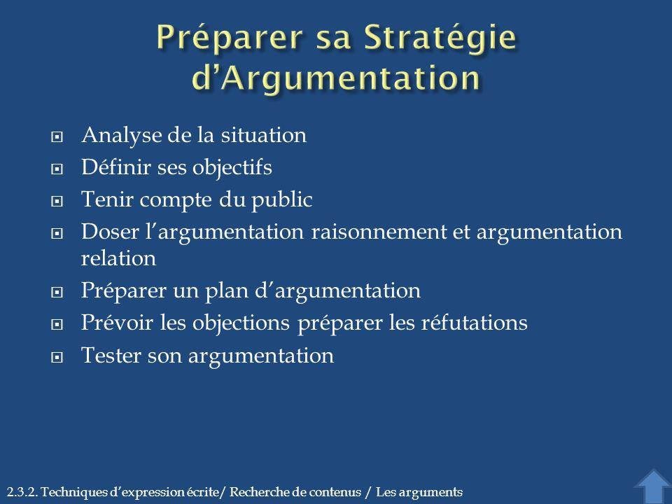 Préparer sa Stratégie d'Argumentation