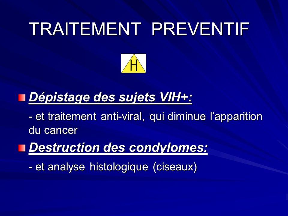 TRAITEMENT PREVENTIF Dépistage des sujets VIH+: