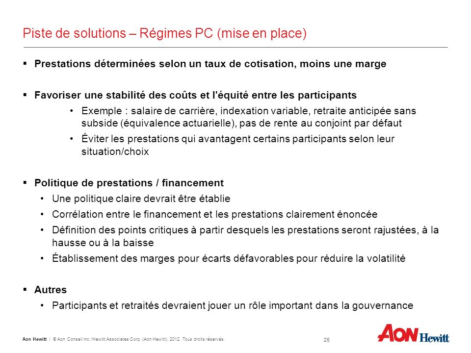 Piste de solutions – Régimes PC (mise en place)