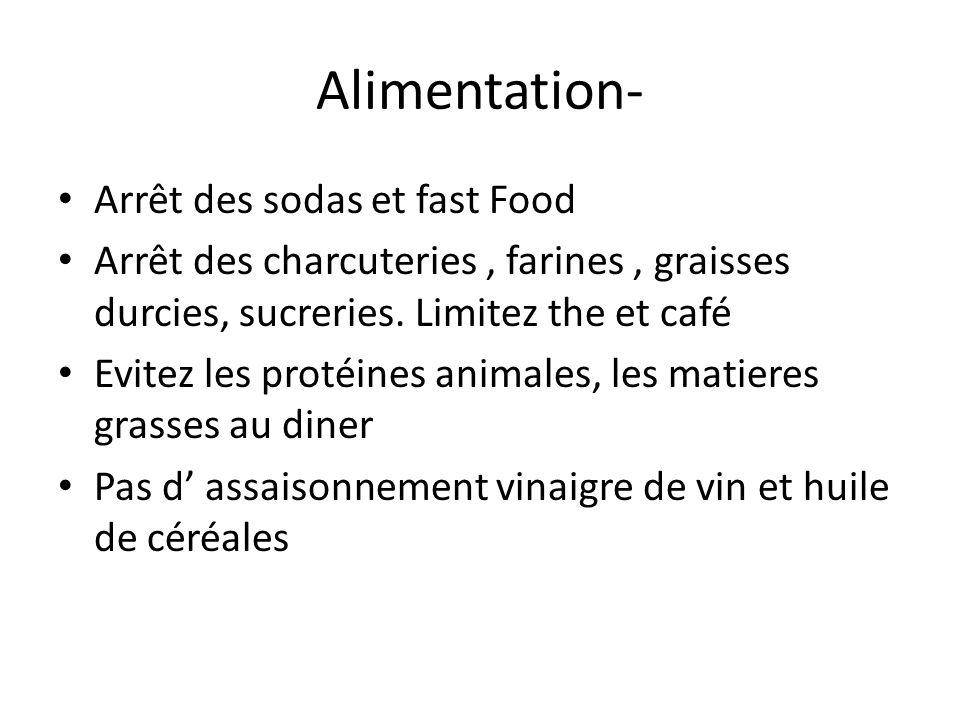 Alimentation- Arrêt des sodas et fast Food
