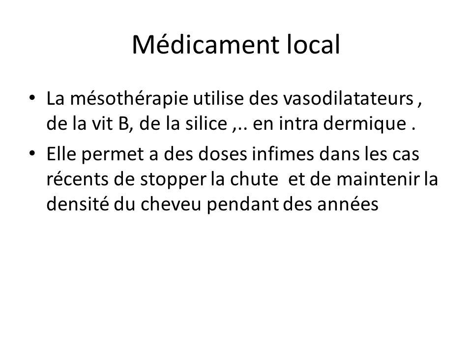 Médicament local La mésothérapie utilise des vasodilatateurs , de la vit B, de la silice ,.. en intra dermique .