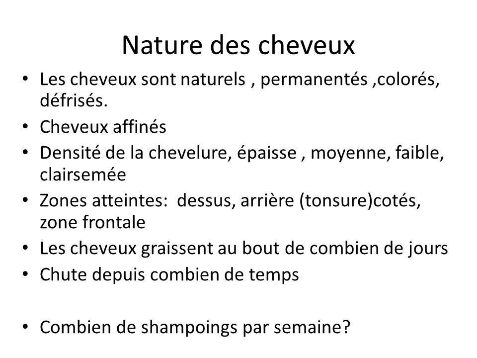 Nature des cheveux Les cheveux sont naturels , permanentés ,colorés, défrisés. Cheveux affinés.