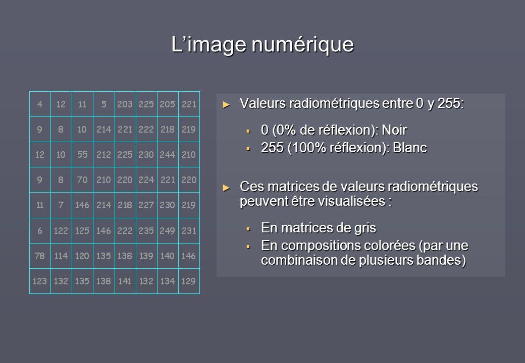 L'image numérique Valeurs radiométriques entre 0 y 255: