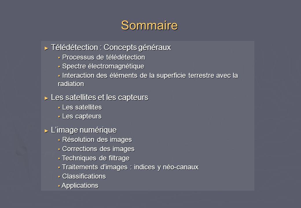 Sommaire Télédétection : Concepts généraux Processus de télédétection