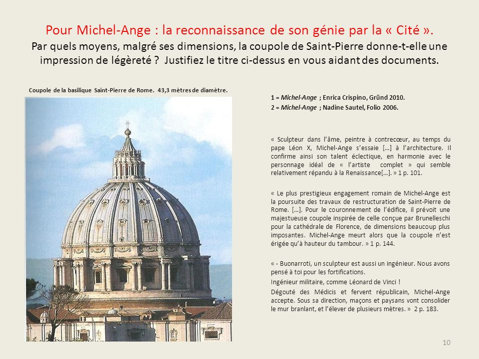 Pour Michel-Ange : la reconnaissance de son génie par la « Cité »