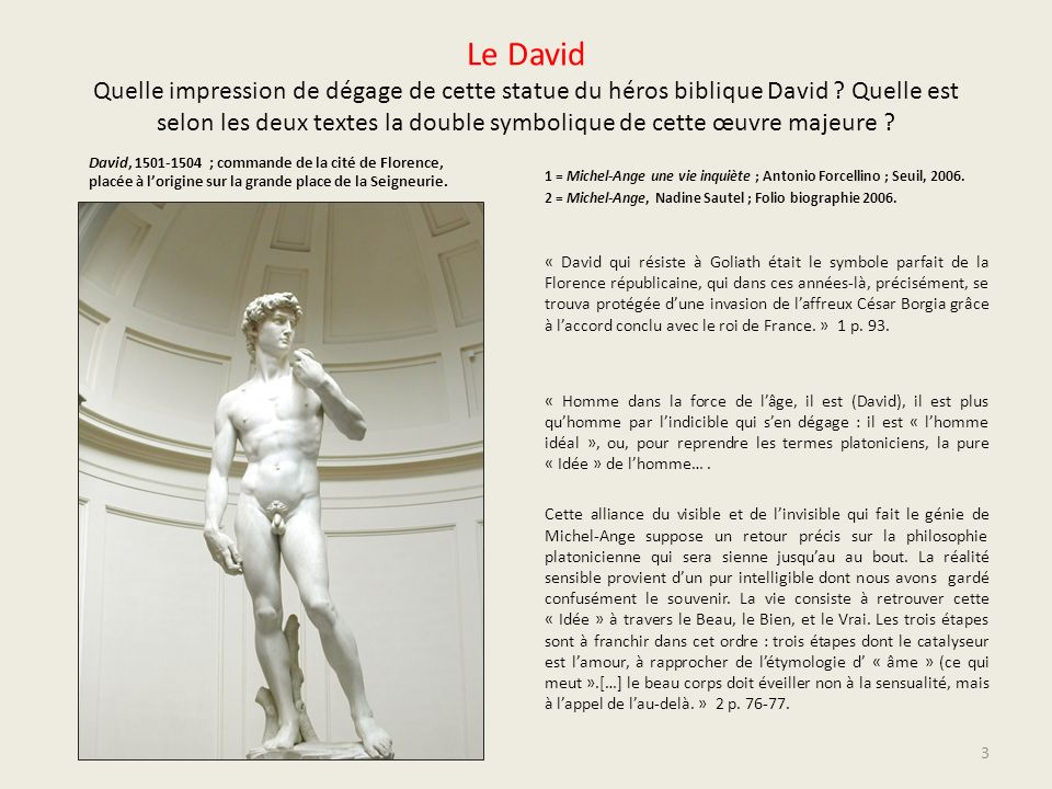 Le David Quelle impression de dégage de cette statue du héros biblique David Quelle est selon les deux textes la double symbolique de cette œuvre majeure