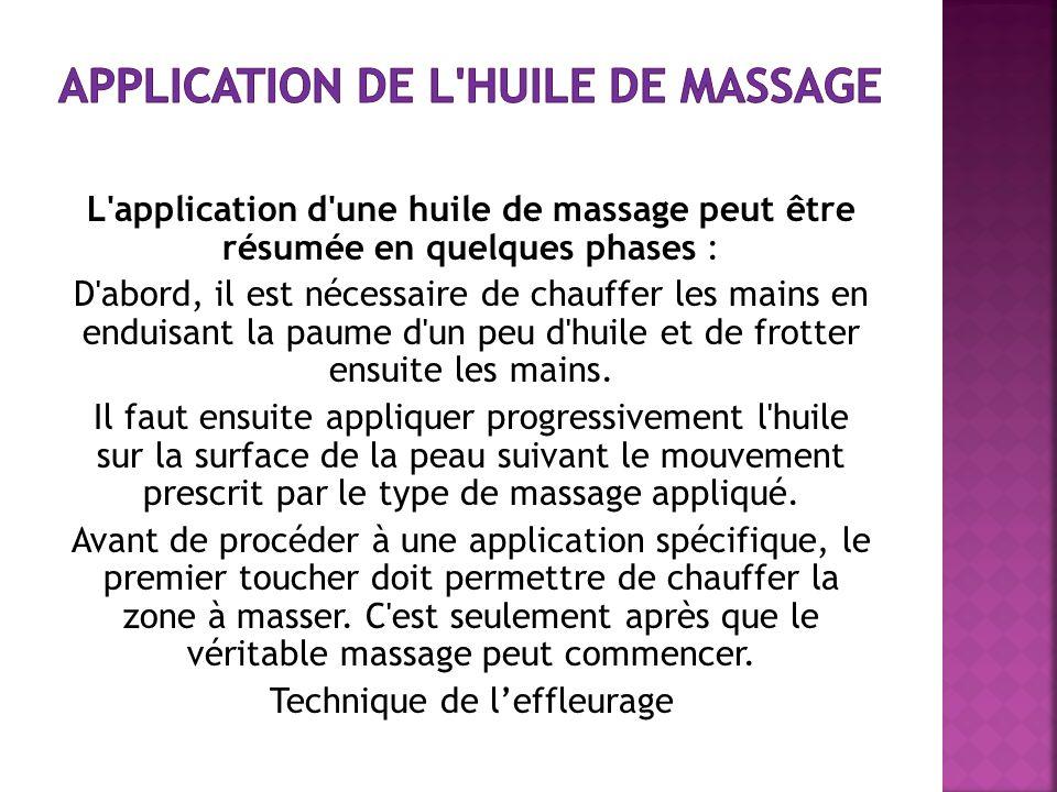Application de l huile de massage