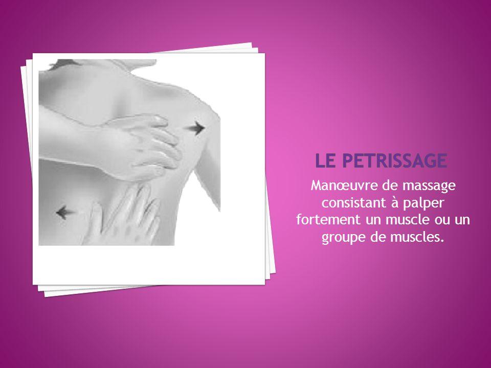 LE PETRISSAGE Manœuvre de massage consistant à palper fortement un muscle ou un groupe de muscles.
