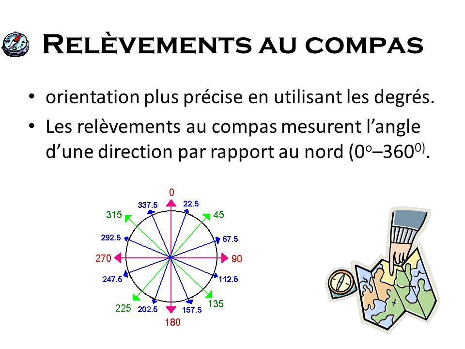 Relèvements au compas orientation plus précise en utilisant les degrés.