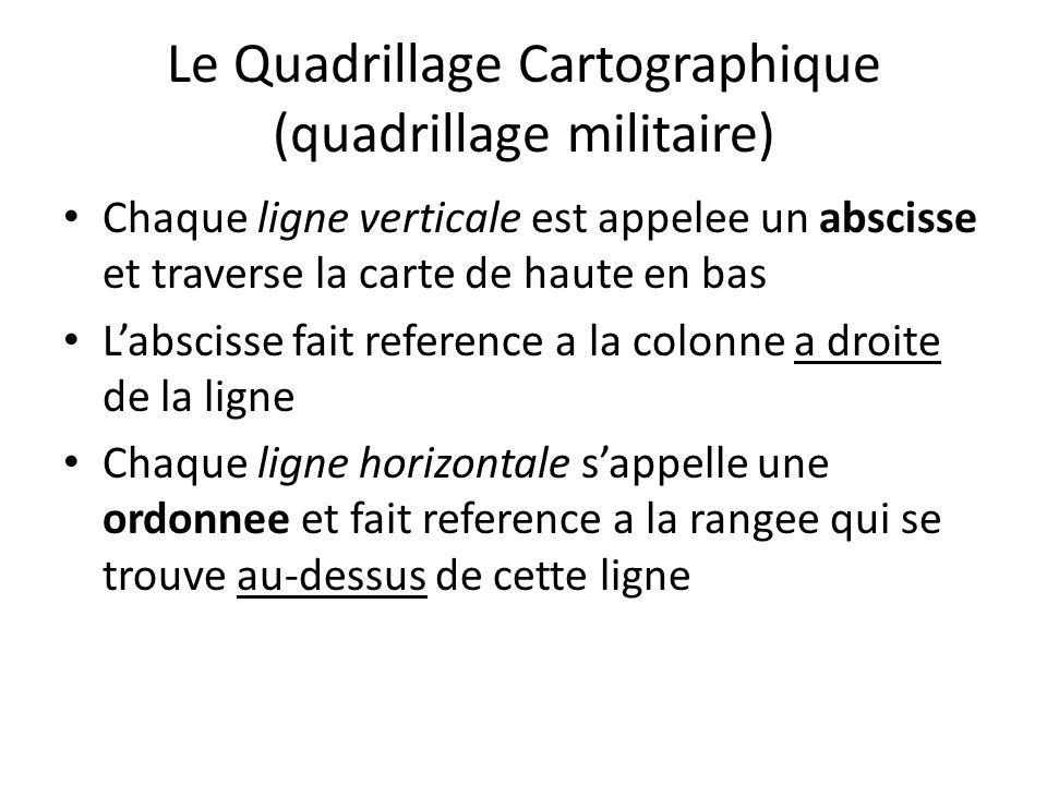 Le Quadrillage Cartographique (quadrillage militaire)