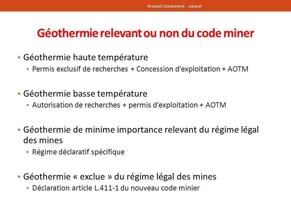 Géothermie relevant ou non du code miner